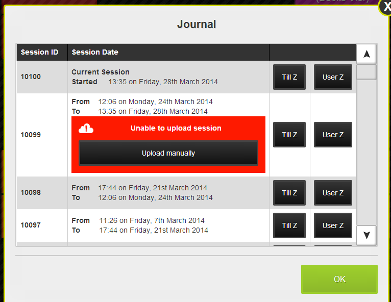 EPoS Journal with failed upload