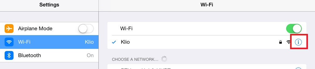 iPad Wireless Network 1