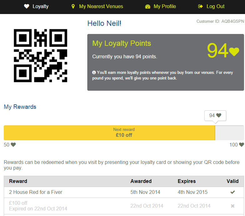 An example of your Customer Rewards Web Site.