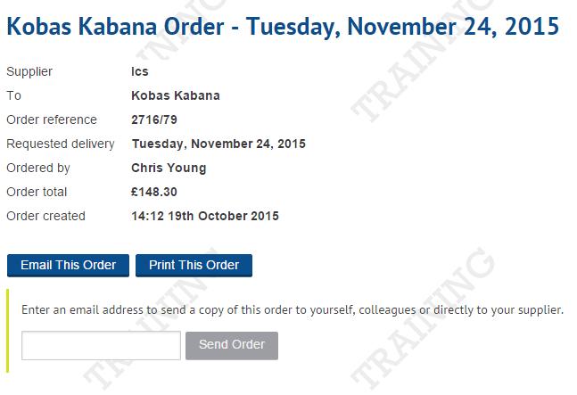 Email Order screenshot